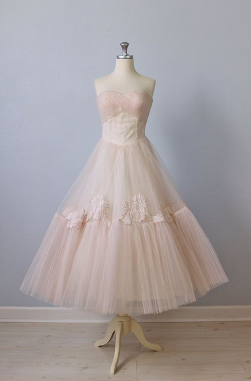 1950s Dress / 50s Pink Tea Length Wedding Dress / 50s Strapless Dress / Ballet Slippers