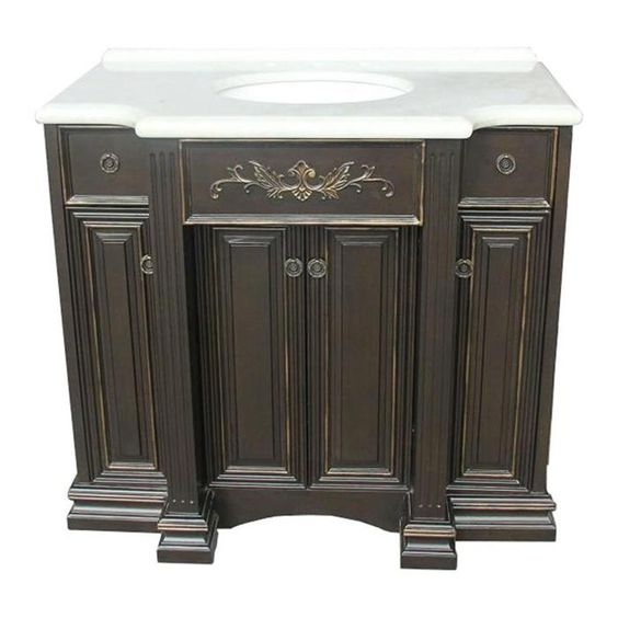 Single sink vanity in distressed painted black nebraska - Bathroom vanities nebraska furniture mart ...