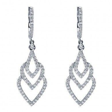 14k White Gold Diamond Drop Earrings  0.66 ct EG11098W45JJ