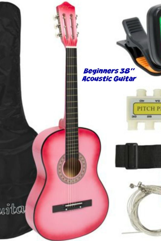Best Choice Products 38in Beginner Acoustic Guitar Starter Kit W Case Strap Digital Tuner Strings Pink Walmart Com Guitar Acoustic Guitar Acoustic Guitar Kits