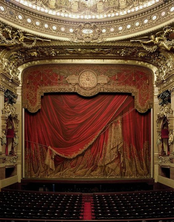 Oh to sing in a place like this would be amazing! Curtain, Palais Garnier, Paris, France