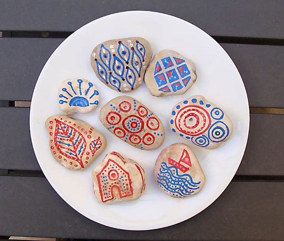 Rock Painting craft for kids-doodling