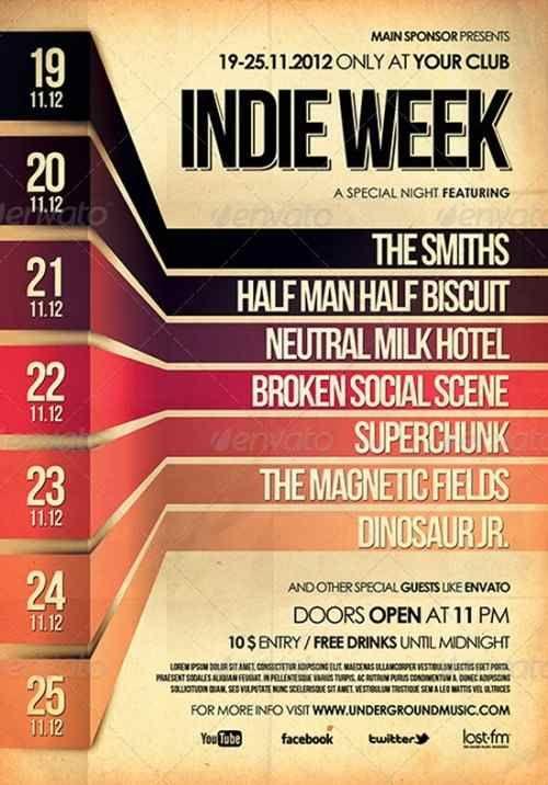 Posters conciertos música indie: