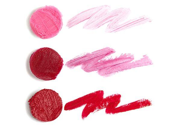 Sweet Lorraine (bubblegum pink lip sheer), Charleston (cranberry lip sheer), Lady in Red (matte crimson lip color)