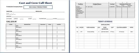 Cast and Crew Call Sheet Microsoft Templates Pinterest - inflation calculator template