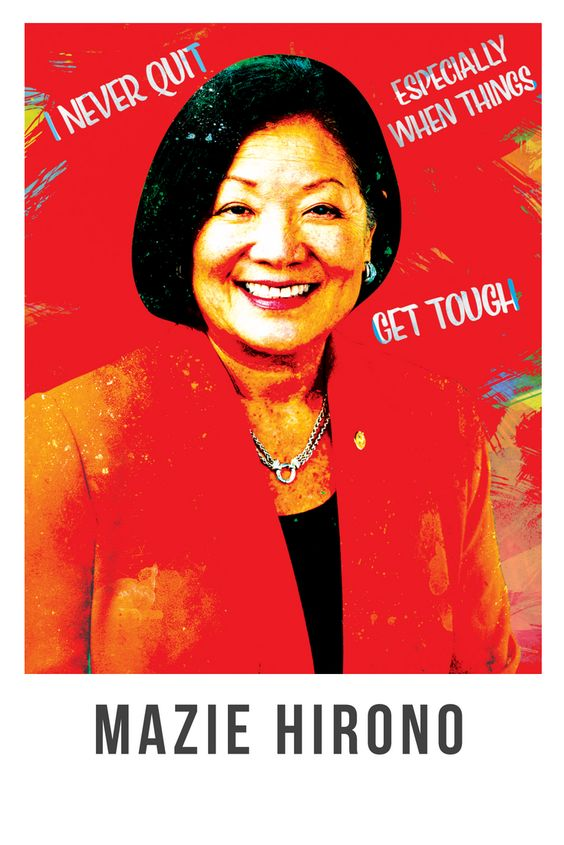 Mazie Hirono, 8x10, US Senator, Feminist Art, Portrait, Hawaii, The Future is Female, Buddhist, Political, Activist Gift