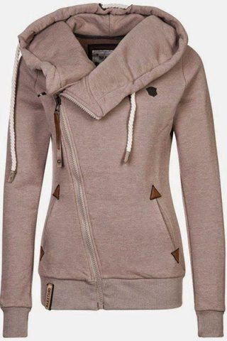 Stylish Hooded Long Sleeve Zippered Slimming Women's Hoodie ...