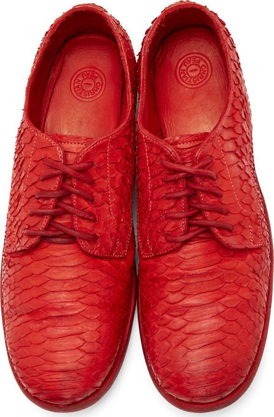 Christian Peau Red Python Lace-Up Shoes