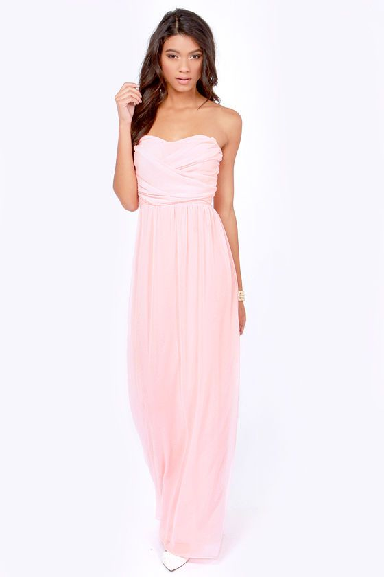Exclusive Slow Dance Strapless Pink Maxi Dress  Pink Pink maxi ...