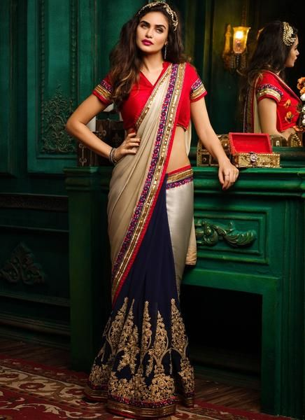 Red Blouse and tri-shaded bridal saree