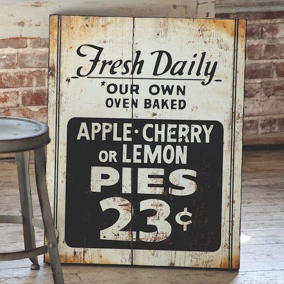 Fresh Pie Sign | Kitchen Wall Art | Kitchen Wall Decor | Kitchen Signs | Vintage Signs