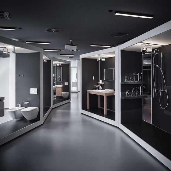 Modularity & Design hand in hand. aquaMART sanitary showroom by FL  Architects, Budapest | Company | Pinterest | Showroom, Budapest and  Architects