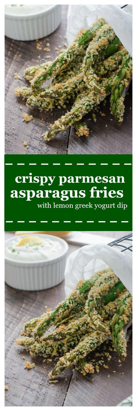 Parmesan Asparagus Fries with Lemon Greek Yogurt Dip are asparagus ...