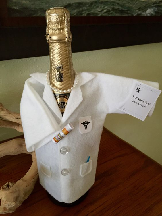 Birthday, Anniversary, White Coat Ceremony, Champagne or Wine bottle cover READY-TO-SHIP, Doctor,Pharmacist,Dentist,Medical School Graduate, by OneGiftPlace on Etsy https://www.etsy.com/listing/240021313/birthday-anniversary-white-coat-ceremony