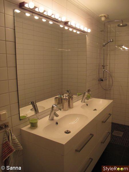 Belysning från IKEA placeras ovanför spegeln alternativt monteras ...