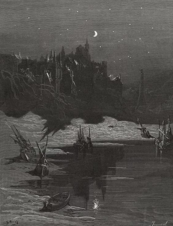 Illustration for poem by Samuel Taylor Coleridge. The Rime of the Ancient Mariner by Gustave Doré (Jonnard, engraver) Plate 27: The Shadow of the Moon.