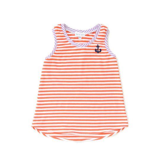 Imaginary Animal Hand-made Clothing  Orange Stripe Anchor Tunic - 1T  $ 24.00