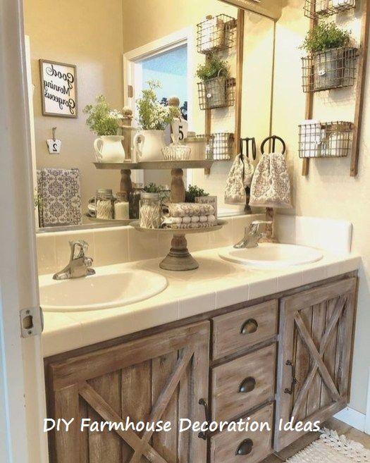 10 Easy Diy Farmhouse Wooden Craft Ideas Rustic Beautiful Bathroom Decor Farmhouse Bathroom Decor Rustic Bathrooms