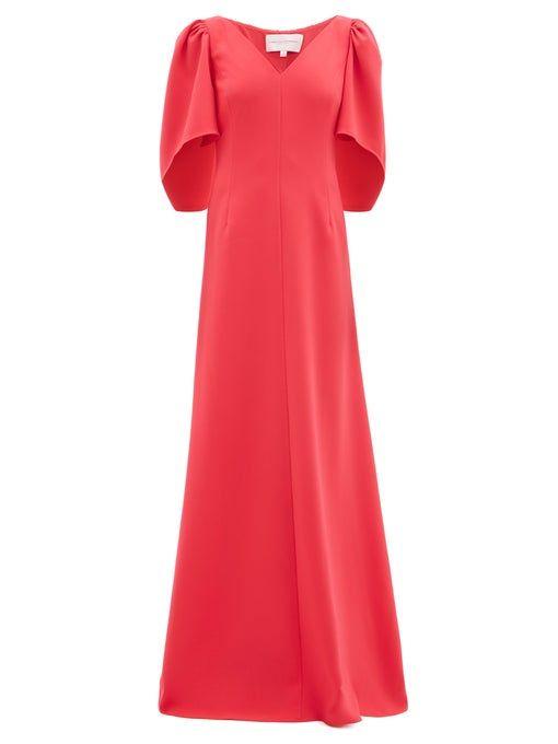 Robe longue palazzo en crêpe à mancherons   Carolina Herrera
