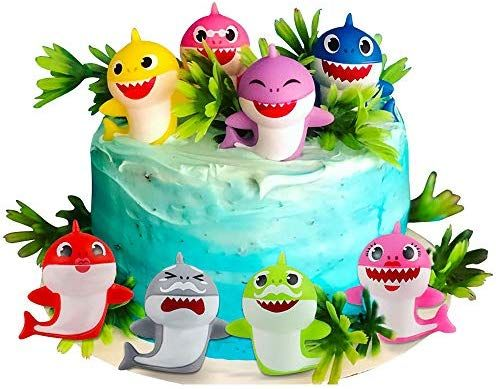 Little Shark Cake Decorations for Kids Shark Theme Birthday Party Baby Shower 8 Pack Shark Birthday Cake Toppers