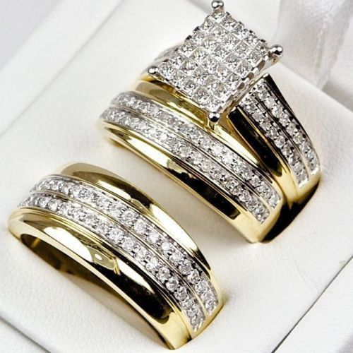 Trio Band Set They Are Bright And Sparkly And Display More Fire Than The Best Grade Of Diamond Wedding Ring Bands Set Wedding Ring Trio Sets Wedding Ring Sets