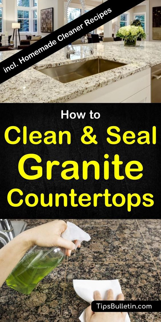 How to clean and seal granite countertops - quartz and more. With a detailed recipe for a homemade granite cleaner and granite sealer. Includes tips on how to polish and clean your kitchen counter tops in a natural way.#granite #cleaning #countertop #kitchen