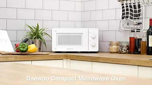 Daewoo QT3R Compact Manual Control Microwave Oven 14 Litre Pink//White 600 W