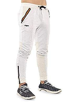 Jogzz Men's Fashion Slim Fit Joggers With Zipper Fly, Pockets, and Legs - 100% Cotton Blend -