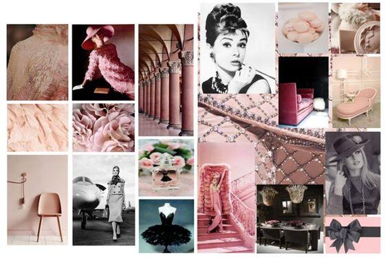 Création 2 : Ambiance Glamour.  Thématique : rose poudré    #glamour #glam #moodboard #rosepoudré #madynoushka