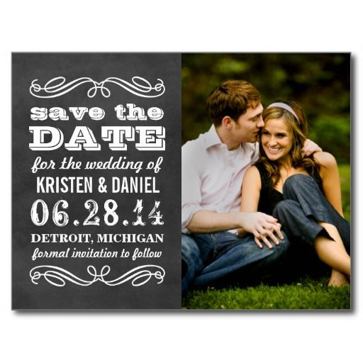 Photo Save the Dates | Vintage Black Chalkboard Postcard