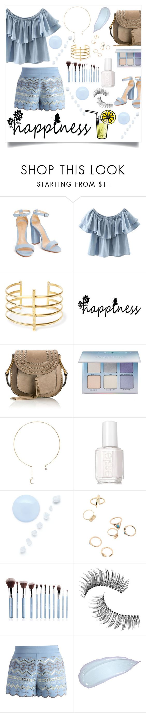 """""""Happy 💙"""" by selena-styles-ibtissem23 ❤ liked on Polyvore featuring WithChic, BauXo, Chloé, Anastasia Beverly Hills, Eye Candy, Essie, Sigma, Trish McEvoy and Chicwish"""