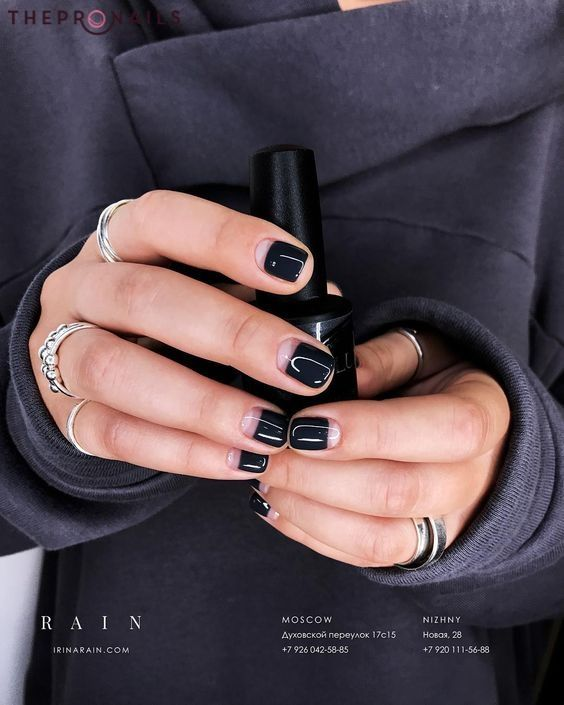 I Will Never Stop Loving You Black Nails Black Lovers Minimalist Nails Manicure Nails