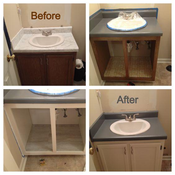 How To Refinish A Bathroom Countertop: Bathroom Renovation On A Mega Budget! I Used Rustoleum