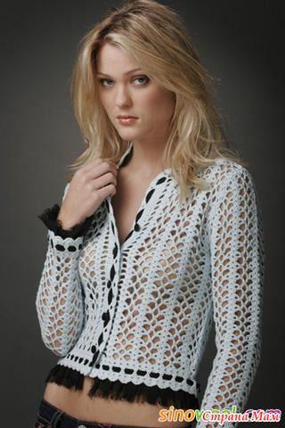 Crochetemoda: Crochet - Casaqueto Branco:
