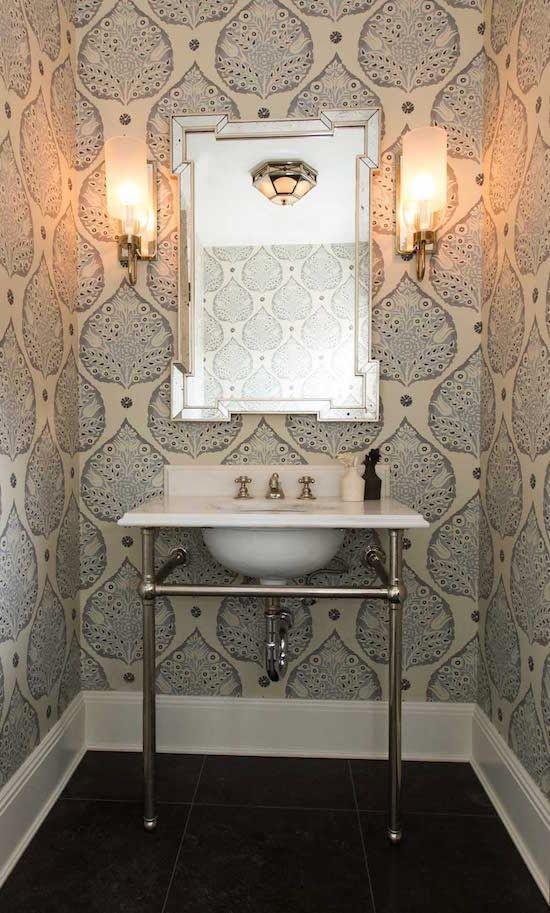 Great 15 Stunning Bathroom Wallpaper Design Ideas   Pedestal Basins, White  Wallpaper And Powder Room Wallpaper