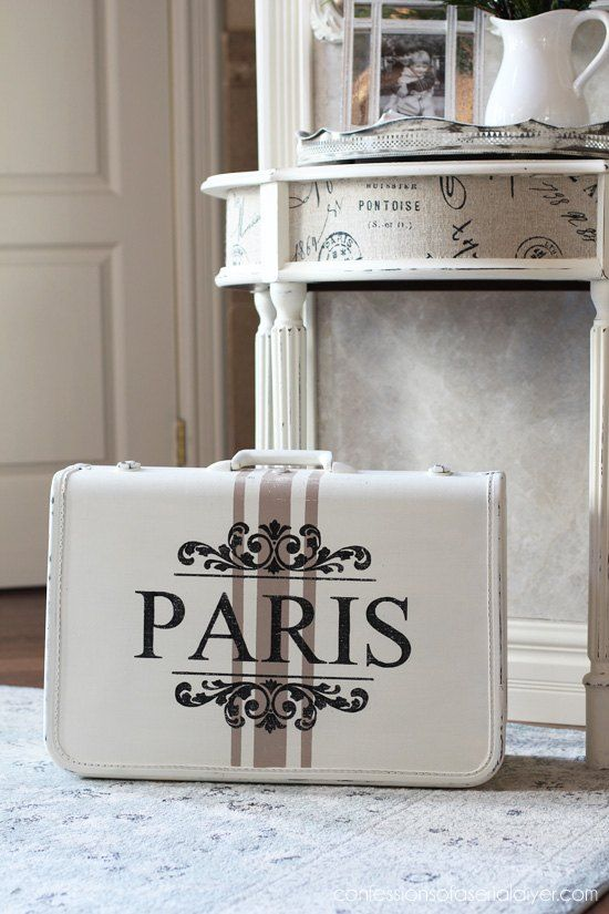 Curbside suitcase upcycle inside and out into this French-inspired beauty.