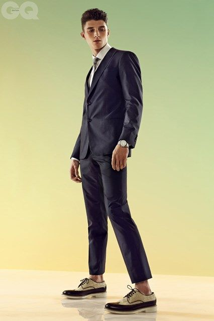 suit, shirt, tie, shoes and watch - all by Giorgio #Armani