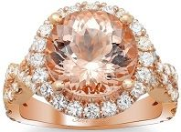 #Jewelry #Rings 14k Rose Gold Morganite and Diamond Halo Ring