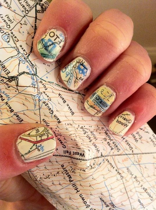 whoa. map nails!  (1.paint your nails white/cream. 2.soak nails in alcohol for five minutes. 3.press nails to map and hold VOILA!! 4.paint with clear protectant immediately after it dries. Also works with newspaper, etc!)  I'M TRYING THIS TODAY (: <3