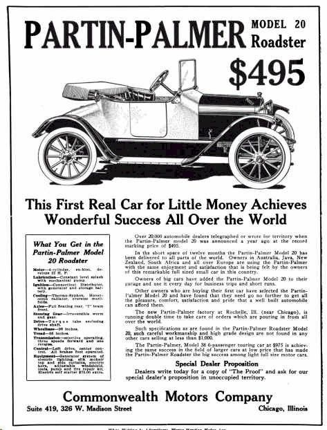 1915 Partin Palmer Automobile Advertisement