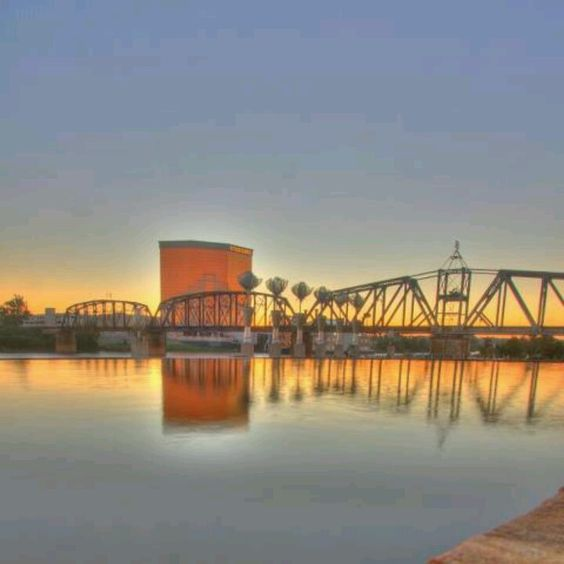 On the Red River in Shreveport, Louisiana - the Horseshoe Casino on the Bossier City shore is in the background