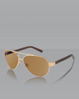 N26GB David Yurman Phantom Aviator Sunglasses, Gold