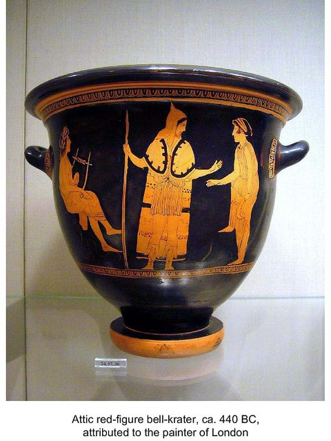 Thracian peltast with Orpheus  Athenian bell krater 440 BC