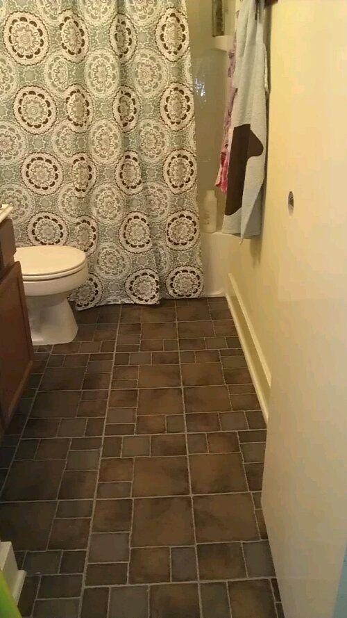 Vinyl tiles vinyls and tile on pinterest for Cheap bathroom vinyl flooring