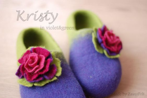 Get some colours into your life! Great gift for your dear person or yourself- a pair of cozy hand-felted slippers, made with love and accurate.