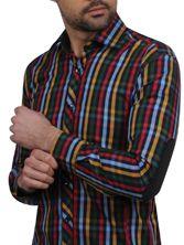 Chemise homme à carreaux multicolores à coudières (Double Retors)