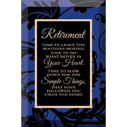 Retirement Beveled Glass Plaque with Easel