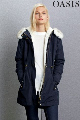 Buy Oasis Navy Laura Parka from the Next UK online shop | LC