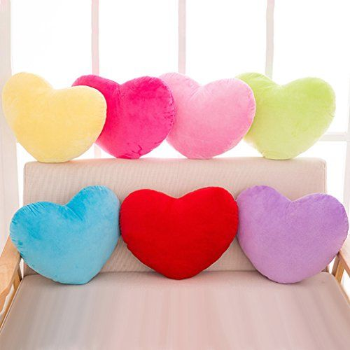 Eastone 30cm Multicolored Heart Shape Decorative Throw Pillowsoft Pp Cotton Cushion Stuffed Plush Toy Decorative Throws Decorative Throw Pillows Colorful Heart