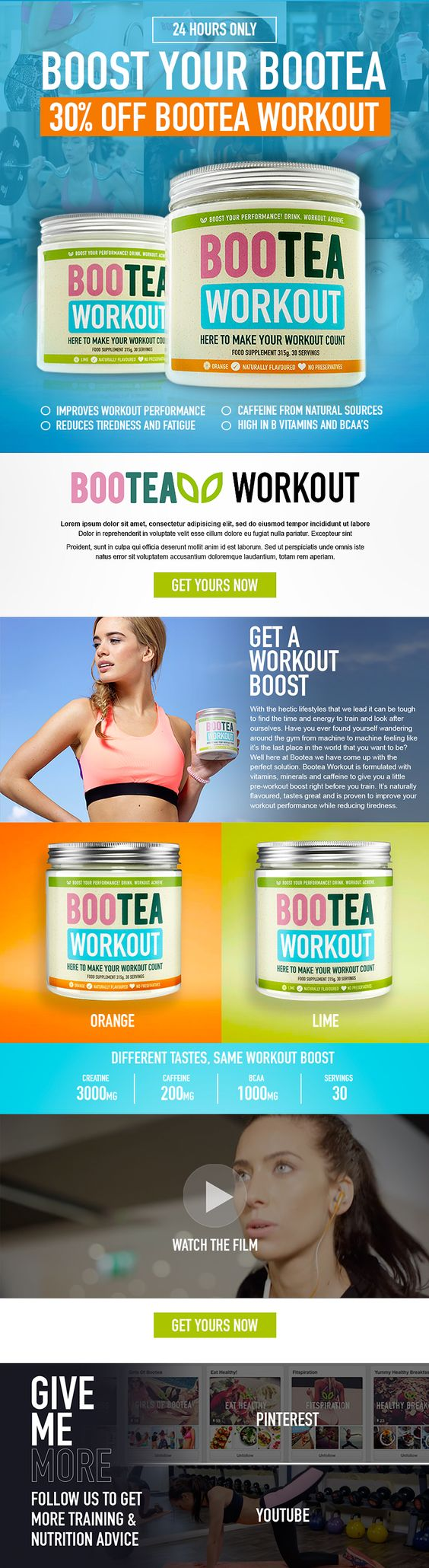 Power through your workout sessions and maximise your training. Mix & drink 30 minutes before you hit the gym or exercise to increase your physical performance & reduce fatigue. Now you can push for the results you want. The Bootea Workout has no artificial colours or preservatives and contains caffeine from natural sources. It's high in B vitamins & BCAAs to help you work towards your health & fitness goals. The Bootea Workout is available worldwide, just in time for summer!